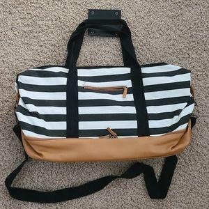Zip weekender bag tote black white stripe DSW